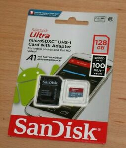 Sandisk Micro SDXC UHS-I 128gb 100 MB/S Memory Card with Adapter