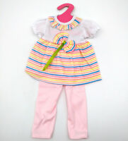 Fit For 18'' American Girl Set Striped T-shirt With Bow Pink Pants Doll Clothes
