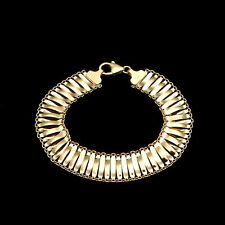 "14k Solid Yellow Gold Women's Mesh Hollow Bracelet 12mm Wide 7.5"""