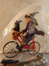 .Halloween Witch riding Bike figure, Dept 56 Lemax Village Be-witching Wizard oz