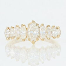 Yellow Gold Diamond Ring - 18k Marquise Cut 1.70ctw Tiered