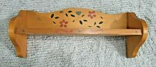 Vintage 1980's Handmade Hand Painted 3x5x13 Solid Pine Wood Wall Shelf FREE S/H