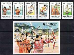 👉 BHUTAN 1986 OLYMPIC GAMES WINNERS + S/S MNH  ARCHERY, TENNIS