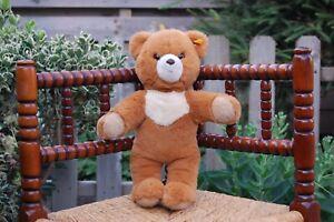 Steiff Cosy Red Brown Teddy Bear 1997 018725 14 Inch 36 CM Button Tag