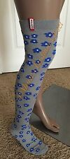 HUNTER Women Floral Cotton Tall Knit Side Logo Tab Boot Socks M/L 8-11 Gray/Blue