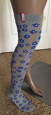 NWT HUNTER Women Floral Cotton Tall Knit Logo Tab Boot Socks S/M 5-7 Gray/Blue