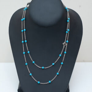 """New DAVID YURMAN Collectible Bead & Chain Necklace in Turquoise & Silver 36"""""""