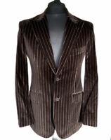 TED BAKER Men's Chocolate Brown Striped Velvet Jacket Sz 38 R Blazer