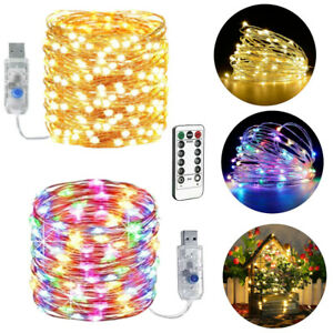 USB Plug In LED Micro Copper Wire String Lights Xmas Party Fairy Light Outdoor