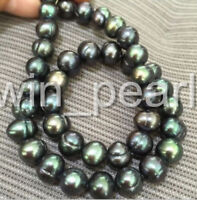 stunning tahitian 10-11mm peacock green pearl necklace 18inch 14k Clasp Gift