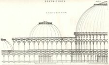 DUBLIN EXHIBITION OF 1853. End elevation 1880 old antique print picture
