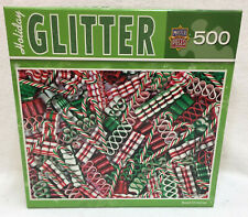 Jigsaw Puzzle 500 Piece Master Pieces Holiday Glitter Candy Cane Ribbons