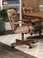 Caster Chair Company Bernard Swivel Tilt Caster Arm Chair in Rawhide Microsuede