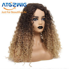 Ladies Brown Blonde Short Wavy Hair Wigs Women Afro Natural Kinky Curly Wig
