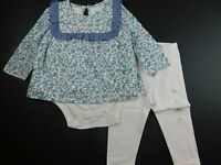 NWT Gap Baby Girl's 2 Pc Outfit LS Floral Body Double/Leggings 6-12M MSRP$35 New