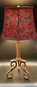 """Vintage Brass Table Lamp with Red Felt Shade 29"""" Tall-Lovely for All Rooms!"""