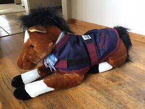 "LN AURORA 28"" JUMBO PLUSH BROWN HORSE PONY W/ REMOVABLE BLANKET"