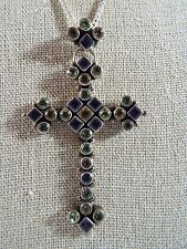 Nicky Butler Sterling Silver Multi-Gemstone Cross Pendant Necklace With Box