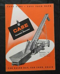 "1949 J I CASE ""MODEL E 3-WAY PORTABLE ELEVATOR"" SALES CATALOG BROCHURE NICE"