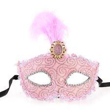 Lady Venetian Masquerade Eye Mask Princess Feather Rhinestone Pink L6