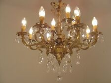 12 LIGHT BRONZE/BRASS CHANDELIER CRYSTAL OLD ANTIQUE