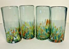 Vintage Mexican Artisan Hand Blown Half Confetti Glass Tumblers~ Set Of 4