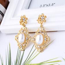 Earrings Clip on Golden Chandelier Drop Enamel Pink Black Mini Pearl X21