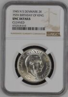 1945 DENMARK King Christian X Silver 2 Kroner 75th BIRTHDAY Coin NGC UNC Details