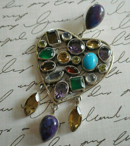 Sterling Silver Limited Edition Nicky Butler Gem Studded Heart Pendant  RE36P1
