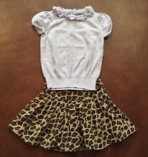 Janie And Jack Short Sleeve Sweater And Animal Print Skirt For Size 6 Girl