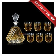 Lalor Whiskey Decanter Set, Scotch Whisky Decanter Glass tumblers, Total 7 Pcs