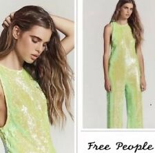 NWT $300 FREE PEOPLE Neon Green Starbright Sequin Jumpsuit Size XS