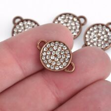 4 Copper Rhinestone Drop Charms, 13mm round coin link rhinestones bezel chs3623