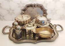 Silver Table Set: Butter Dish, S&P Shakers, Caddy, Milk Jug, Sauce Boat &2 Trays