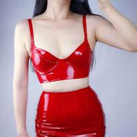 LATEX BRALETTE Stretch Shine Leather Faux Patent Bra Top Crop Corset Black Red