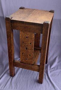 Antique Arts & Crafts Stickley Era Nightstand Side Table Quarter Sawn Tiger Oak