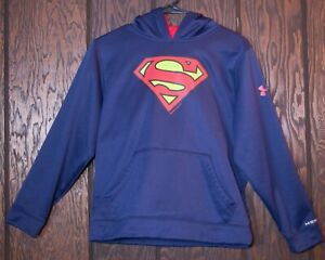 Under Armour Superman Hoodie Youth Large Loose Fit Blue