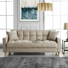 Modern Small Space Living Room Sofa Linen Fabric Tufted Couch (Beige)