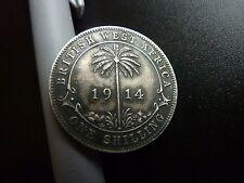 1913 & 1914 AFRICA OCCIDENTALE Britannica monete d'argento Shilling un sacco di foto