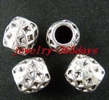 60pcs Tibetan Silver Tube Big Hole Spacers 8.5x8mm 1460
