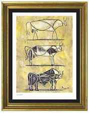 "Pablo Picasso Signed/Hand-Numbered Ltd Ed ""3 Bulls Evolution"" Litho (unframed)"