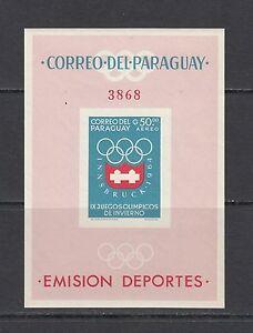 D531  Paraguay  1963  Olympics  IMPERF sheet  MNH