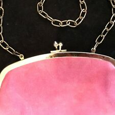 Vintage Clutch Pink SUEDE Mod Hand Bag  Purse Kiss Lock Clasp Chain Strap