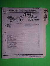 Sharp md-s301 w service manual original repair book stereo md mini disc player