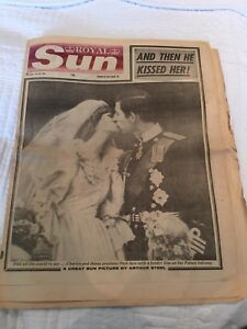 Diana & Prince Charles - Wedding -  Original Newspapers - Sun & Mirror