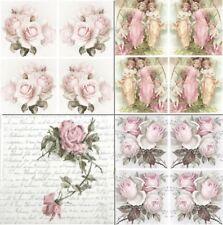 4 x Vintage Single Table Paper Napkins , Craft , Party ,for Decoupage , Floral M