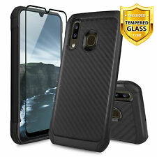 For Samsung Galaxy A20/A30/A50 Case Hybrid Carbon Fiber Cover +Tempered Glass