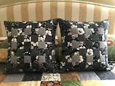 """Decorative Pillows (2), 18"""" Machine quilted, black/gray/white"""