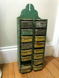 Vtg Antique Small Storage Shelf with Old Tobacco Can Drawers