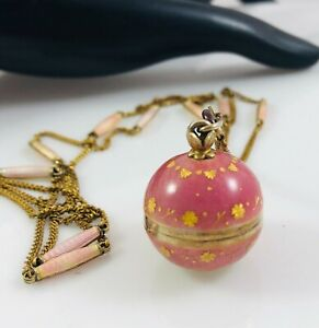 VTG Sterling Silver Guilloche Enamel Pink w/Gold Ladies Ball Turler Watch&Chain